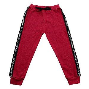 Calça Vermelha Jogger Menina Faixa Lateral Ralakids