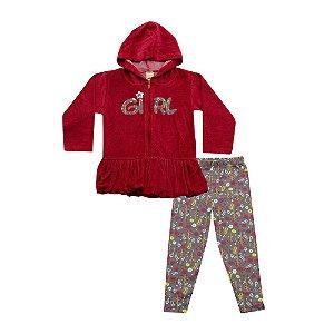 Conjunto Menina Jaqueta Vermelha e Legging Marrom Ralakids