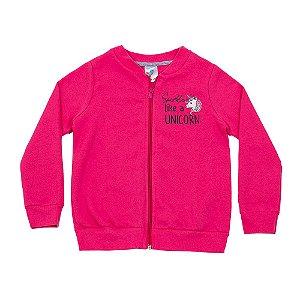 Casaco Infantil Menina Rosa Escuro Estampa Nas Costas LX Textil
