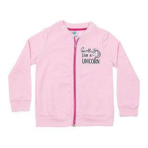 Casaco Infantil Menina Rosa Claro Estampa nas Costas LX Textil