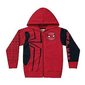 Casaco Homem Aranha Com Capuz Vermelho Fakini