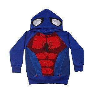 Casaco Homem Aranha Com Capuz Azul Fakini