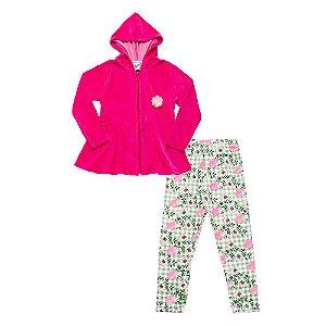 Conjunto Infantil Menina Casaco Rosa e Calça Floral Didiene