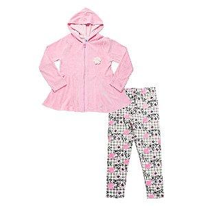 Conjunto Infantil Menina Casaco Rosa Claro e Calça Floral Didiene