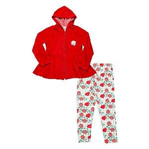 Conjunto Infantil Menina Casaco Vermelho e Calça Floral Didiene