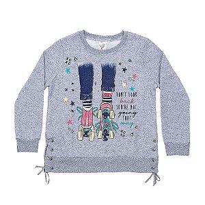 Casaco Infantil Menina Mescla Com Ilhoses LX Textil