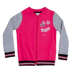 Casaco Bomber Infantil Menina Rosa e Mescla  LX Textil