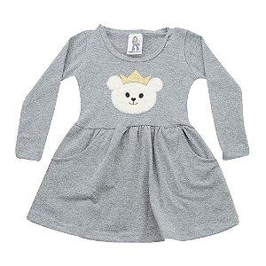 Vestido Kids Mescla Aplicação Urso Polegar