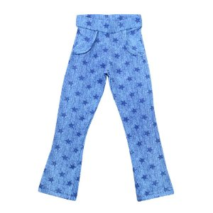 Calça Menina Azul Estampa Estrelas Polegar