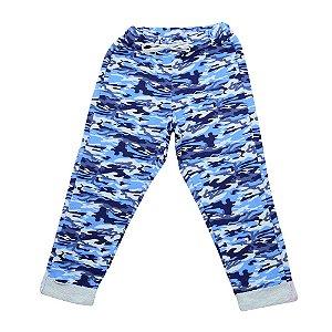 Calça Menina Azul Estampa Camuflagem Polegar
