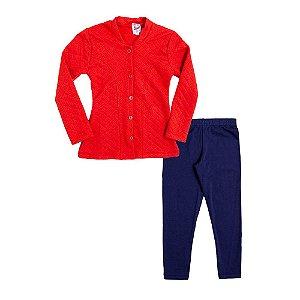Conjunto Infantil Menina Casaco Vermelho e Calça Azul Didiene