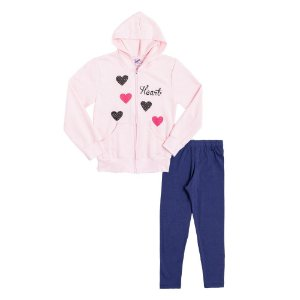 Conjunto Infantil Menina Casaco Rosa e Calça Azul Didiene