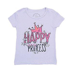 Blusa Menina Branca Estampa Happy Princess Geração Brasil