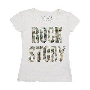 Blusa Menina Off White Com Paetês Rock Story Geração Brasil DE-18700-CPA Tam 12 a 16