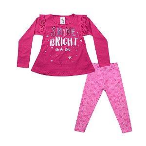 Conjunto Infantil Menina Blusa Rosa Escuro e Legging Rosa Polegar