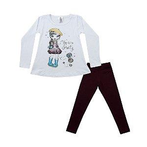 Conjunto Menina Blusa Branca e Legging Bordo Polegar