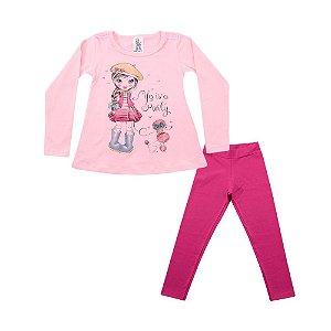 Conjunto Menina Blusa e Legging Rosa Polegar