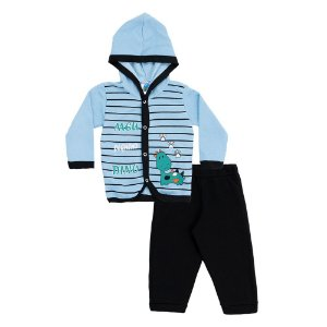 Conjunto Baby Menino Casaco Azul e Calça Preta Pega Legal
