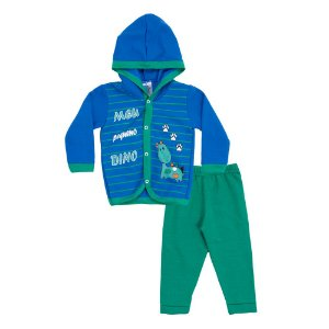 Conjunto Baby Menino Casaco Azul e Calça Verde Pega Legal