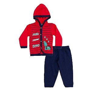 Conjunto Baby Menino Casaco Vermelho e Calça Azul Marinho Pega Legal