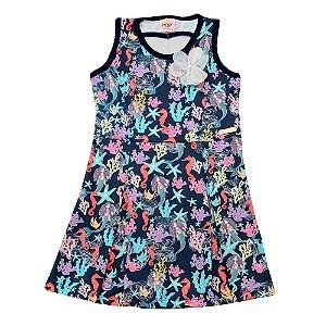 Vestido Regata Azul Marinho Estampa Sereias Pop Love PV-1048-A Tam 1 a 4
