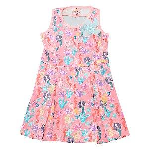 Vestido Regata Rosa Sereias Pop Love PV-1048-R Tam 1 a 4