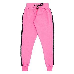 Calça Juvenil Menina Pink Com Faixa Lateral Anabela Kids