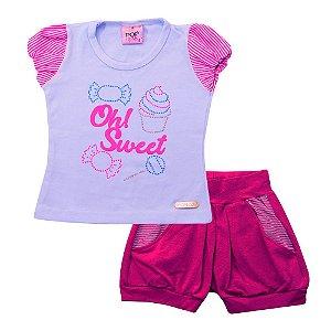 Conjunto Menina Blusa Branca e Shorts Pink Pop Love