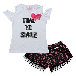 Conjunto Menina Blusa e Shorts Com Estrelas Pop Love Tam 3