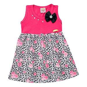 Vestido Infantil Rosa Com Estampa Floral Pop Love Tam 1 a 3