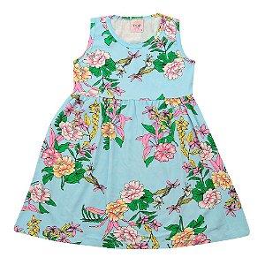 Vestido Infantil Azul Floral Pop Love