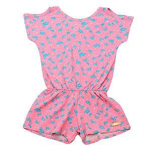 Macaquinho Infantil Menina Rosa e Flamingos Pop Love
