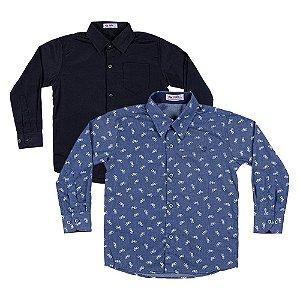 Kit 2 Camisas Menino Preta e Azul Marinho Mac Rose