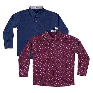 Kit 2 Camisas Menino Bordo e Azul Marinho Mac Rose