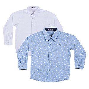 Kit 2 Camisas Menino Branca e Azul Mac Rose