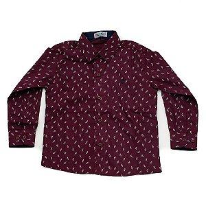 Camisa Manga Longa Menino Bordo Estampa Folhas Mac Rose
