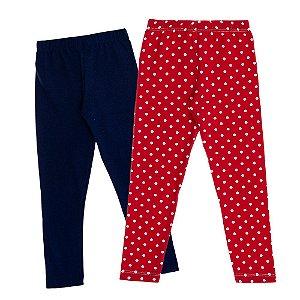 kIT 2 Leggings infantil Azul Marinho e Vermelha Kid Stok