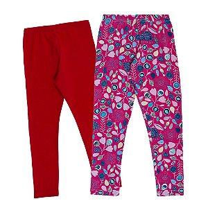 kIT 2 Leggings Infantil Vermelha e Rosa Floral Kid Stok