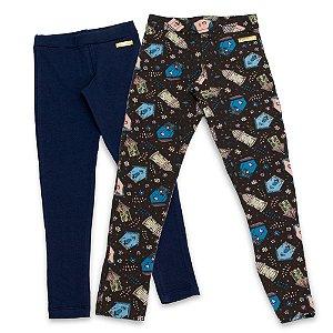 Kit 2 Leggings Infantil Feminino Azul e Gaiolas Edvertido
