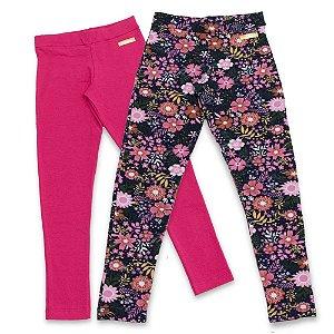 Kit 2 Leggings Infantil Feminino Rosa e Flores Edvertido