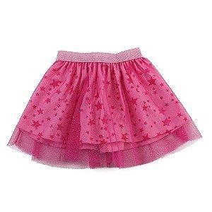 Saia Infantil Feminina Rosa e Estrelas Tule  Mr Kids