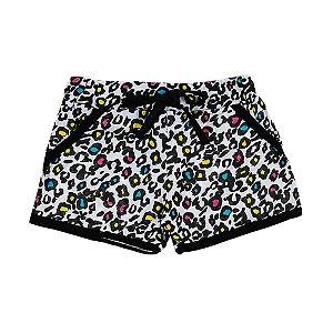 Shorts Infantil Feminino Oncinha Colorida Bju Kids