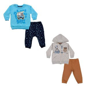 Kit Dois Conjuntos Bebê Masculino Polícia e Urso Andritex