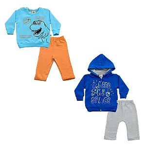 Kit Dois Conjuntos Bebê Masculino Espaço e Dino Andritex