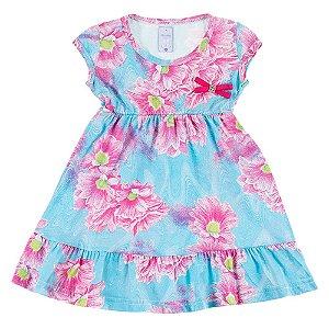 Vestido Infantil Feminino Azul Florido Bju Kids