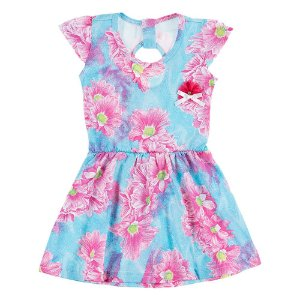 Vestido Infantil Feminino Azul com Abertura Costas Bju Kids