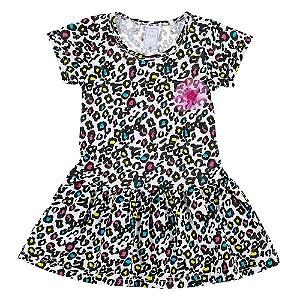 Vestido Infantil Feminino Oncinha Animal Print Bju Kids