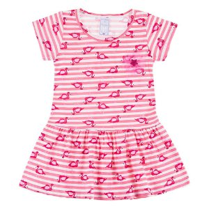 Vestido Infantil Feminino Rosa com Flamingos Bju Kids