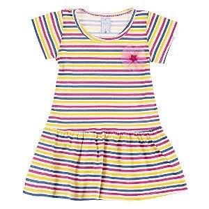 Vestido Infantil Feminino Colorido com Listras Bju Kids