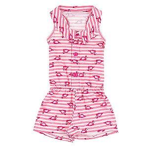 Macaquinho Infantil Feminino Rosa com Flamingos Bju Kids